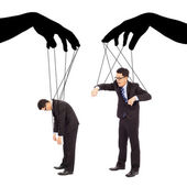 Black hands shadow control two businessman actions — Stockfoto