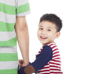 Little boy holding the hand of the father and looking back — Stock Photo