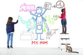 Two kids drawing her mother working tasks — Stock Photo