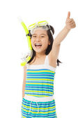 Happy  little girl wearing swimsuit with thumb up — Stock Photo