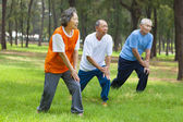 Seniors are warming up before jogging in the park — Stock Photo
