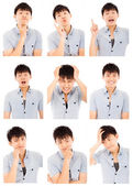 Asian young man face expressions composite isolated on white  — Stock Photo
