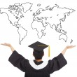 Graduation student  open arms to welcome the worldwide job — Stock Photo #46754527