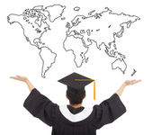 Graduation student  open arms to welcome the worldwide job — Stock Photo