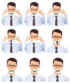 Business man show different negative facial expression — Stock Photo