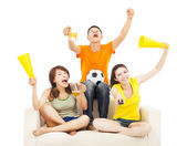 Young people shouting to encourage their  team  win — Stock Photo