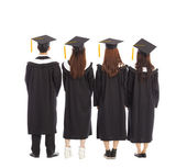 Graduate students standing a row. isolated on a white  — Stock Photo