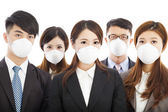 Businesses people wearing a mask to express problems — Stock Photo