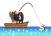 Business team go fishing a big money from worldwide market — Stock Photo
