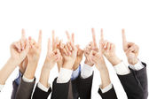 Group of business people hands point upward together — Stock Photo