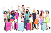 Group of happy people are ready to travel together — Stock Photo