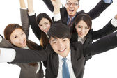 happy young success business team raise hands — Stock Photo