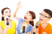 Happy asian young group having fun singing with microphone — Stock Photo