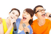 Happy asian young group having fun singing with karaoke — Stock Photo