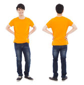 Portrait of young man standing ,front and back — Stock Photo