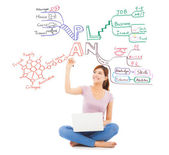 Pretty student drawing a future plan by mind mapping — Stock Photo