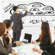 Business man training about global cloud computing applications — ストック写真