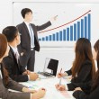 Professional business man showing a market situation chart — Stock Photo