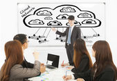 Business man training about global cloud computing applications — 图库照片