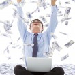 Excited business man raise hands with money rain background — Stock Photo #50554577