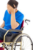Depressed handicapped man sitting on a wheelchair  — Stock Photo