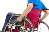 Closeup of handicapped man sitting on a wheelchair — Stock Photo