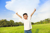 Happy children standing on meadow and raise hands  — Stock Photo