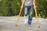 Closeup of  leg on bandage with crutches  — Stock Photo