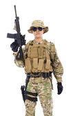 Soldier with rifle or sniper  over  white background — Stock Photo