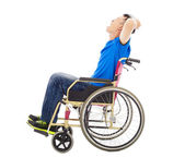 handicapped man sitting on a wheelchair and shouting — Photo