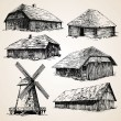 Old wooden buildings - Image vectorielle