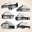 Old wooden buildings — Stock Vector