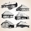 Old wooden buildings - Stock Vector