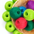 Basket for needlework and thread — Stock Photo