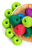 Basket for needlework and thread — Stockfoto