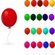 Set of colorful balloons on a white background — Stock Vector