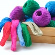 Stock Photo: Threads for needlework in wooden box.