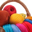 Colored threads for needlework in the basket — Stock Photo #16851225