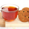 Cup of hot tea and cookies, — Foto de Stock