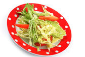 Salad savoy cabbage and tomatoes in a plate — Stock Photo