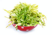 Salad with fresh savoy cabbage on white background — Stock Photo