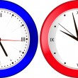 Stock Vector: Blue and red wall clock