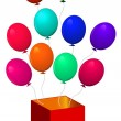 Open box with balloons — Stock Vector