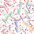 Stock Vector: Music notation repeating pattern on white background