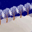 Winter night landscape with trees — Stock Vector