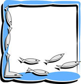 Simple frame with abstract fish — Stock Vector
