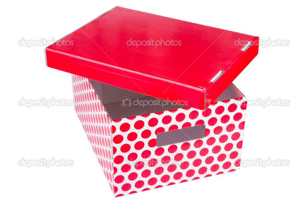 Red cardboard box isolated on white background — Stock Photo #20182569