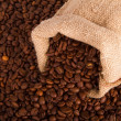 Burlap sack of coffee beans — Stock Photo