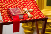Holy Bible and Orthodox cross — Stock Photo
