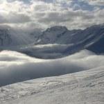 Snowboard park. Ski resort Dombay, Caucasus Mountains. — Stock Photo #13538454